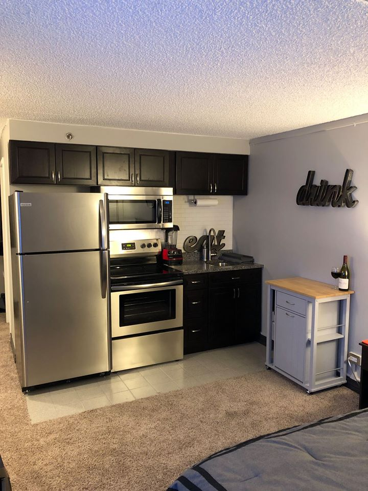 Greeley Apartments 609 Studio kitchen