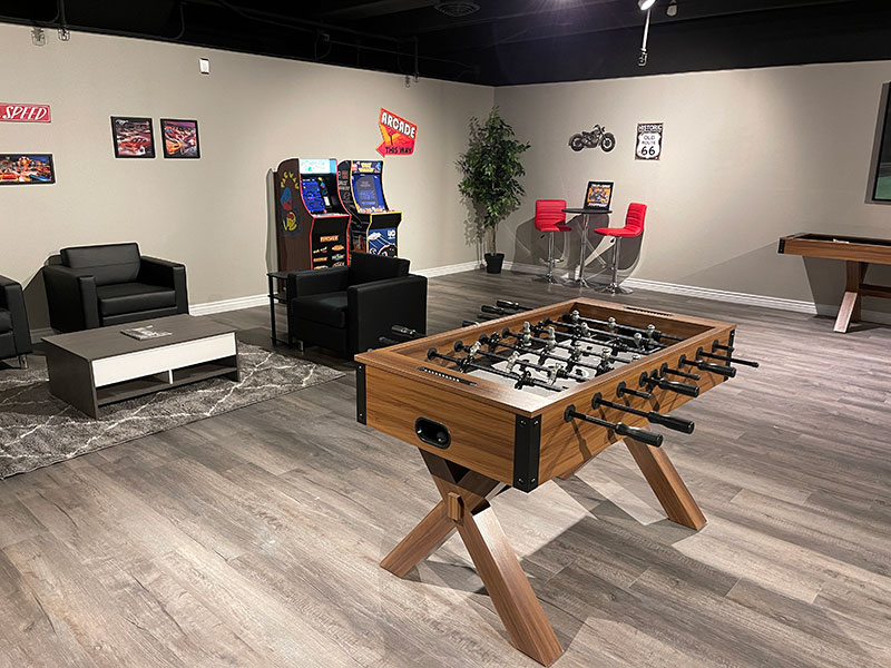 The 609 Studio Apartments Greeley clubhouse foos ball table
