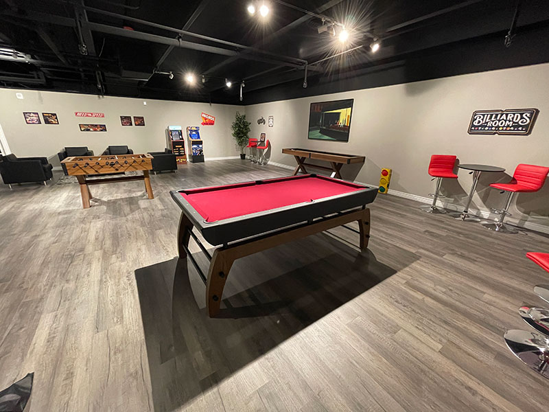 The 609 Studio Apartments Greeley clubhouse pool table